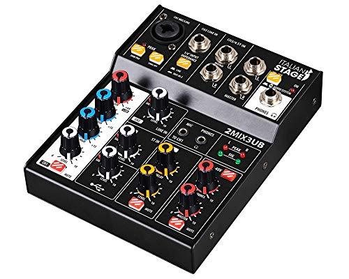 IS 2MIX3UB mixer compatto a 3 canali con effetti echo integrati interfaccia audio usb 2+2 canali e connettività bluetooth