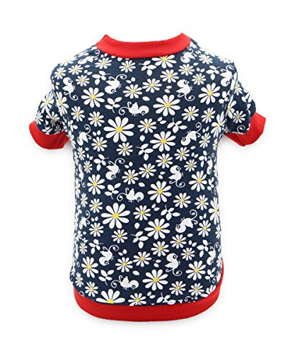 DroolingDog Dog Girl Clothes Puppy Floral Shirts Pet Clothes for Girls Small Dogs, Medium