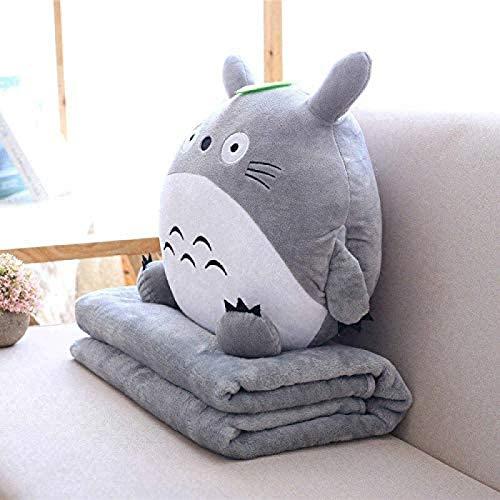 ZLYY Peluche multifunción 3 en 1 Totoro con manta para calentar las manos, manta para dormir, diseño de anime, color gris, altura: 30 cm