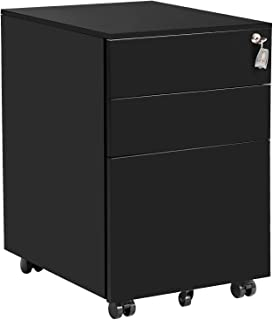 3 Drawer File Cabinet Mobile Metal Cabinet with Drawers Lockable Drawer Cabinet Under Desk Fully Assembled Except for 5 Casters (Black)