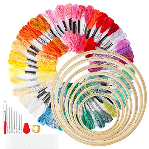 Mukum 79Pcs Embroidery Kit Cross Stitch Kits with 50 Color Threads, 7 Bamboo Embroidery Hoops and Cross Stitch Tools for Adults and Kids Beginners