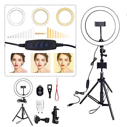 Froadp 10 Zoll Stufenloses Dimmen Ring-Blitzgeräte LED Ringlicht mit Lichtstativ und Handyhalter Verstellbar Ringlicht Kit Set mit 3 Lichtmodi und 11 Helligkeitsstufe für Vlog Make-up Video Live