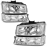 AUTOSAVER88 Headlight Assembly kit Compatible with 2003 2004 2005 2006 Chevy Avalanche Silverado 1500 2500 3500/2007 Chevrolet Silverado Classic Pickup Chrome Housing with Turn Signal Lights