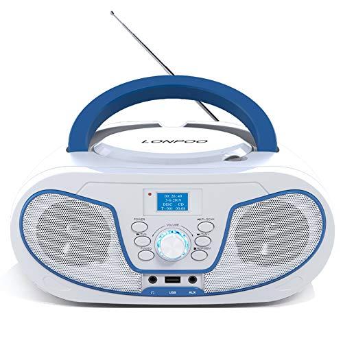 LONPOO Tragbare CD-Player für Kinder Bluetooth Boombox mit DAB+ Radio, USB Eingang, AUX-IN, 2 x 2Watt RMS Stereoanlage (Weiß 02)