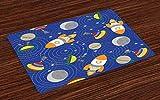 ABAKUHAUS Asilo Tovaglietta Americana Set di 4, Outer Space Luna UFO, Tovagliette in Tessuto Lavabile per Tavolo da Pranzo Cena, Multicolore