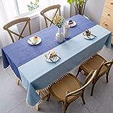 MCZ Tischdecken Rechteckige Blaue Dicke Baumwolle Leinen Waschbare wasserdichte Tischdecke Tischdecke aus Spitze mit Fransen für Küche/Essen/Restaurant/Party (blau, 140 * 300 cm)