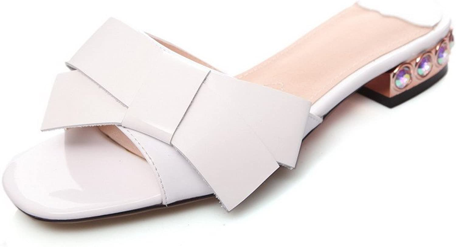 AmoonyFashion Women's Pull-on Low-Heels Cow Leather Solid Open-Toe Sandals