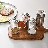 Juego de cocina, juego de especias, de acero inoxidable para condimentos, pimentero, recipiente para especias de almacenamiento, apto para cocina y barbacoa al aire libre.
