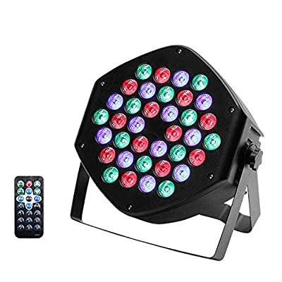 UKing 36 LEDs RGB Par Light, LED Monochrome Stage Effect Lighting with Remote Controller 7CH DMX Sound Control, 25° Light Angle for DJ Club Party Show