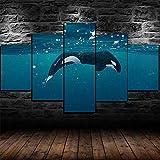 QMCVCDD 5 Piezas De Pared Fotos Cuadros En Lienzo Orca Ballena Enorme HD Imprimir Modern Artwork Decoración De Arte De Pared Living Room 5 Piezas Artística Cuadros