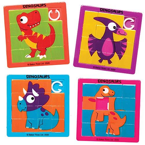 Baker Ross AX611 Puzzle Scorrevoli Con I Dinosauri- Pacco Da 6, Sacchetti Regalo Per Intrattenimento Per I Bambini, Piccoli Giocatoli Per I Bambini