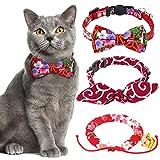 3 Piezas Collares de Gato Japonés Collar de Gato con Estampado de Flores de Cerezo Kimono Rojo con Campana Pajarita Ajustable para Gatito Cachorro, 1 Tamaño para la Mayoría de las Mascotas