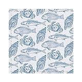 Dessous de verre pour boissons fruits de mer restaurant bleu et blanc carrés aquatiques en cuir Sets de table pour café, bière, thé, vin, maison, bureau, cuisine, bar 9,9 cm