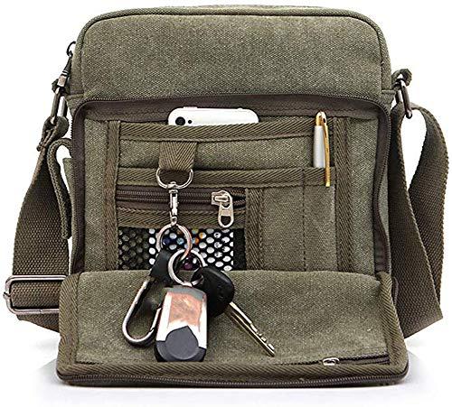 Bolso de Hombro,Popoti Hombres Bolso de Bandolera Pequeño Crossbody Escuela Vintage Mochila Bolsa de Mensajero Multifuncional Bag (Verde, 20x11x23cm)