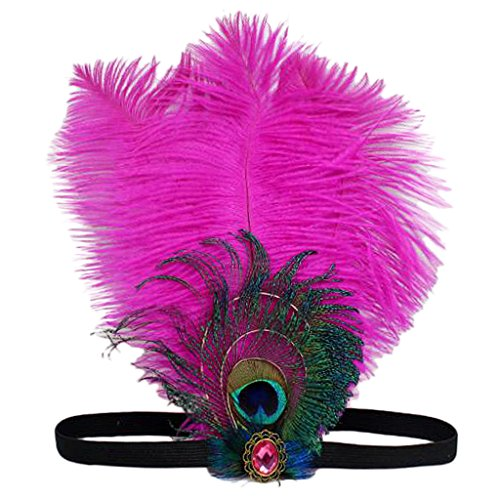 Baoblaze Bandeau de Cheveux à Plume Femme Stretchy Headbands Twist Nœud Wraps Turban Chapeau Déguisement - Rose Vif