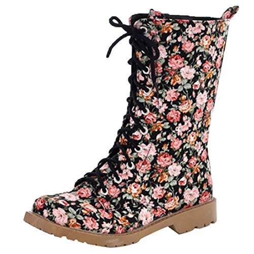 MISSUIT Damen Halbschaft Stiefel Blumenmuster Plateau Halbstiefel Flach mit Schnürung und Blumen Boots Schuhe(Schwarz,38)