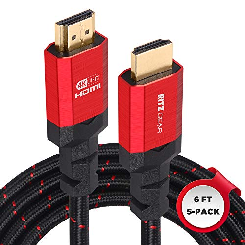 Ritz Gear Cable HDMI 4K de 1,8 m [5] cable de nailon trenzado y conectores dorados, HDMI 2.0 de alta velocidad con Ethernet, compatible con PS5, PS4, PS3, Xbox, Roku, Apple TV, HDTV, Blu-ray, portátil, PC, monitor