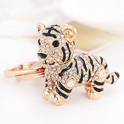 Car Keychain!Full Rhinestone Exquisite Animal Little Tiger Keychain Charm Bag Key Chain Holder Women Handbag Jewelry (Tiger B)
