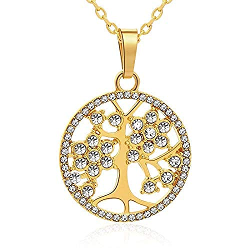 Collana Trendytree Of Life Collana in cristallo con ciondolo color oro/argento per gioielli da donna Gioielli con collana talismano nordico