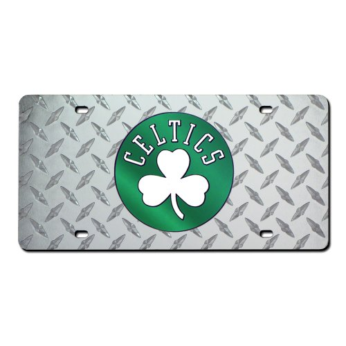 Rico Boston Celtics NBA Laser Cut Diamond Plate License - Shamrock Design