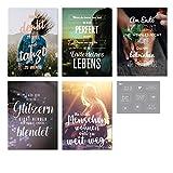 Visual Statements Grußkarten-Set; mit 5 Klappkarten - mit verschiedenen Sprüchen; schöne Spruchkarten im Set mit Umschlag; hübsche Motive - eine schöne Geschenkidee; LEBENSWEISHEITEN