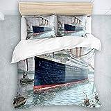 SUHETI Microfibra Juego de Cama Efectos 3 Piezas,Náutico Retro Clásico Titanic Barco Océano Paisaje Acuarela Arte,1(200x200cm)+2(50x80cm)