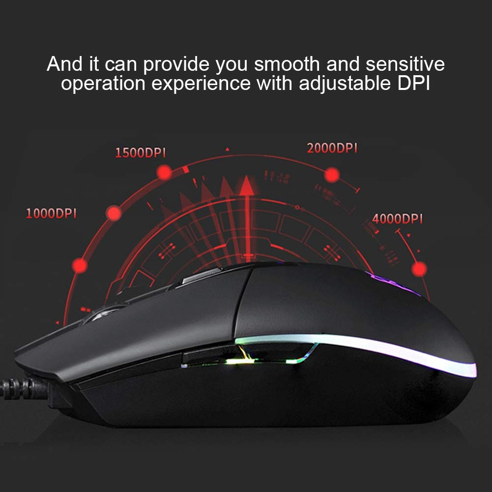 Serounder Gaming Mouse 5000 DPI USB Wired E-Sport Ergonomic Optical Mechanical Mice with 8 Buttons and Colorful RGB Light for Computer Laptop Notebook