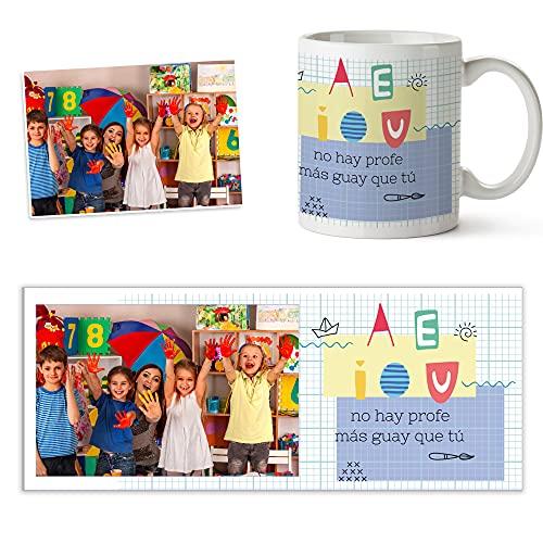 Fotoprix Taza para Profesora de Infantil Personalizada con Foto | Regalo original Profesora de Infantil | Varios diseños (Profe guay)