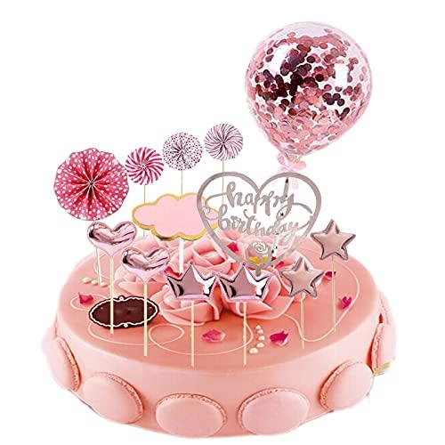 JINCHENG Happy Birthday Cake Topper Decoración 13 Piezas Decoracion Tarta Cumpleaños,para Niñas Niños Mujeres Hombre,Estrellas Cake Cupcake Topper Suministros de Purpurina para Fiestas (Pink love)
