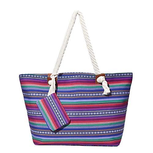 Grande borsa da spiaggia idrorepellente con cerniera Borsa a tracolla Shopper vita hippie