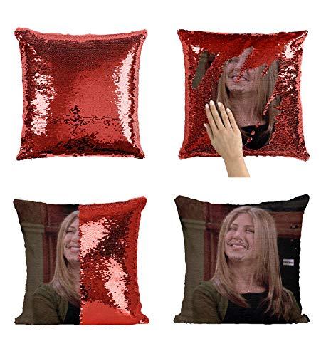 """Rachel Friends Green CF3 - Funda de almohada reversible con lentejuelas, diseño de sirena, con texto """"Meme Emoji Actor"""", para niñas y niños, sofá de oficina (solo cubierta)"""
