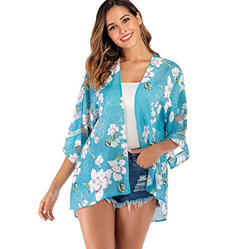Yyh Dames Cardigan bedrukte zomer chiffon los sjaal Kimono Cardigan tops verstrooiingsblouse X-Large blue flower