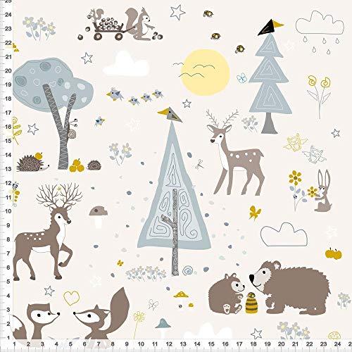 Stoff für Babys und Kinder Waldtiere Ocker Grau auf Beige zum Nähen aus Baumwolle - alle Farbe möglich