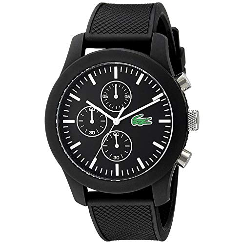 Lacoste Herren-Armbanduhr Analog Quarz Silikon 2010821,schwarz