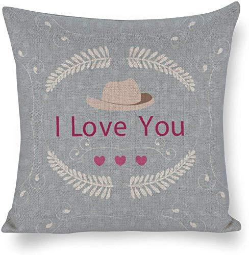 Ropa de cama de cáñamo y algodón suave y transpirable Doble sombrero beige sobre fondo de lunares azules Impreso en ambos lados Personalizable para niñas Niños Amigos Cumpleaños familiar Día de San V