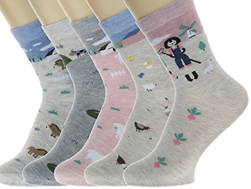 Neuheit Socken Baumwolle Crew Einhorn Eule Katze Bauernhof Prinzessin Meerjungfrau Socken - Cartoon Tier Socken - 5 Pack Weihnachtssocken Geschenkbox (Mehrfarbig Farm)