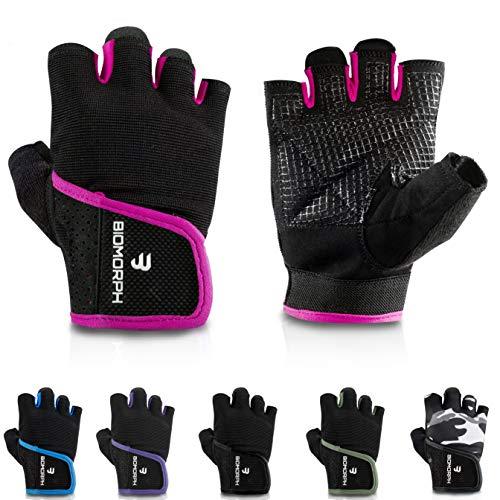BIOMORPH Trainingshandschuhe für Damen und Herren I Fitness Handschuhe für Krafttraining, Bodybuilding, Crossfit (Hot Pink, 19,5cm - 21,5cm - M)