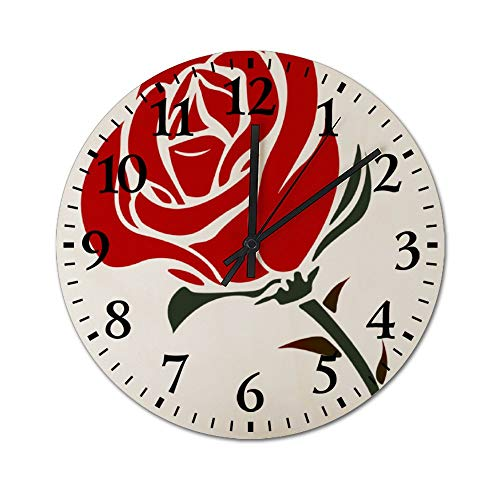 DKISEE Silent Wooden Wall Clock Rose Valentines Day Decorative Simple