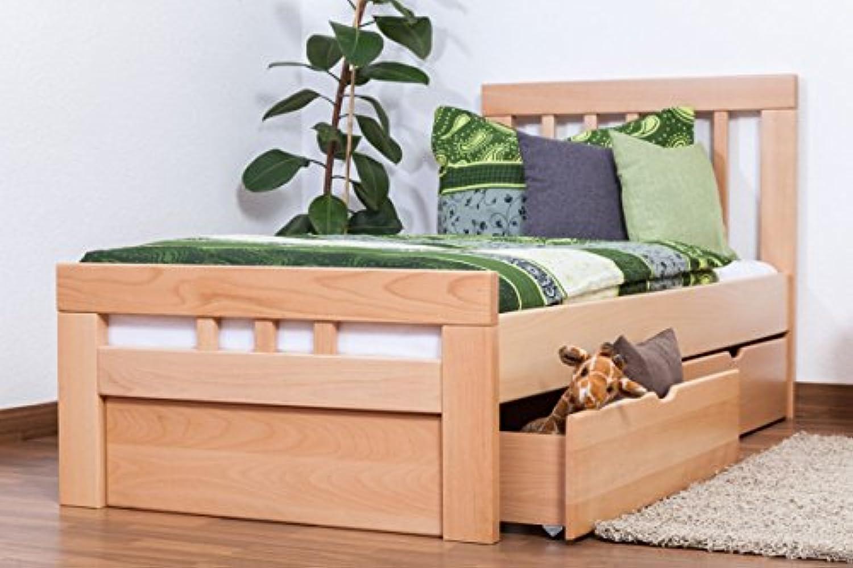 Einzelbett Gstebett Easy Premium Line  K8 inkl. 2 Schubladen und 1 Abdeckblende, 90 x 200 cm Buche Vollholz massiv natur