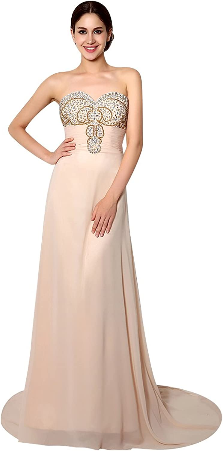 BeautyEmily Bead Sweetheart Strapless Sweep Train Sleeveless Evening Dress