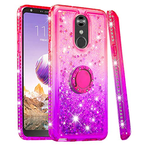 Lrufodya Case for LG Stylo 4 Case Glitter Bling Diamond Luxury Plating Silicon TPU Soft Cover with Ring Stand Holder Ultra-Thin Protection Compatible with LG Stylo 4 for Girls (Pink/Purple)