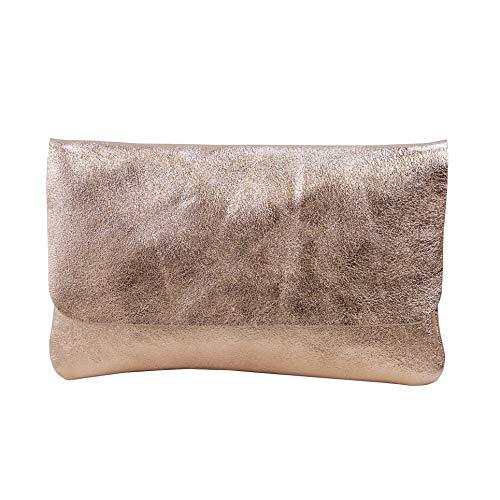 SH Leder Echtleder Umhängetasche Clutch kleine Tasche Abendtasche 24,50x15cm Ely G149 (Rose Gold)