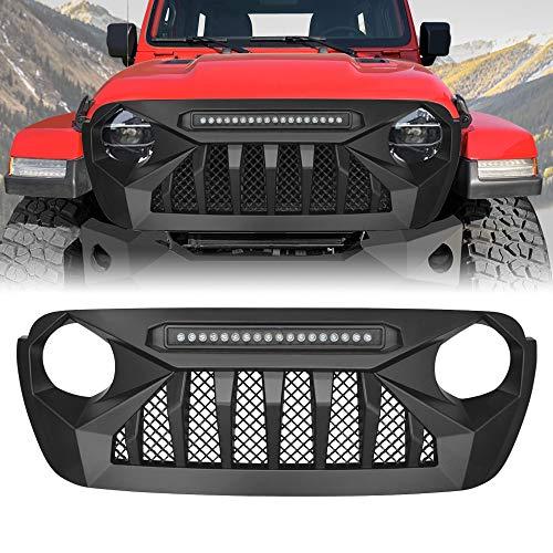 SET 7pcs Matte Black Mesh Grille Insert 2X Angry Eye Headlight Bezel Trim Cover For 2007-2018 Jeep Wrangler JK