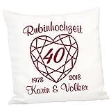 Geschenke 24 Kissen zur Rubinhochzeit: persönliches Zierkissen zum 40. Hochzeitstag – Deko-Kissen...