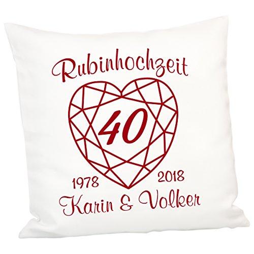 Geschenke 24 Kissen zur Rubinhochzeit: persönliches Zierkissen zum 40. Hochzeitstag – Deko-Kissen mit Zwei Namen und Zwei Jahreszahlen personalisiert