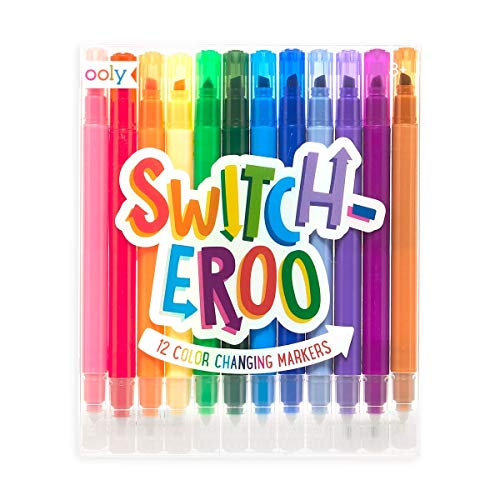 OOLY, Switch-eroo Double Sided Color Changing Markers, Drawing and Coloring Tool for Kids and Adults, Cool and Fun Pens for Creative Projects, Gift Idea for Boys and Girls, Pack of 12 Vibrant Colors