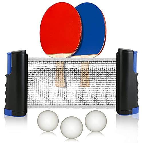 Retractable Table Tennis Net and Post Set for Any Table 2 Ping Pong Paddles and 3 BallsIncludes Convenient Portable Drawstring Bag Play Almost Anywhere for KidsAdult
