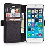 WIIUKA Echt Ledertasche -TRAVEL Away- für Apple iPhone 6S & iPhone 6 mit Vier Kartenfächern, extra Dünn, Tasche Schwarz, Leder Hülle kompatibel mit iPhone 6/6s