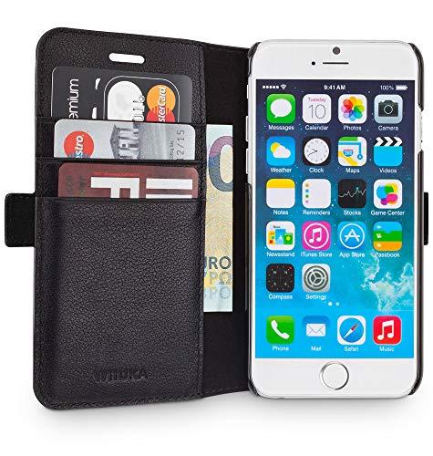 WIIUKA Echt Ledertasche - TRAVEL Away - für Apple iPhone SE (2020) und iPhone 8/7 mit Vier Kartenfächern, extra Dünn, Tasche Schwarz, Leder Hülle kompatibel mit iPhone SE (2020) / iPhone 8/7