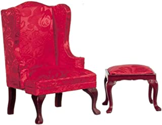 Melody Jane Dolls Houses House Miniature Furniture Queen Anne Red Wingback Armchair & Footstool